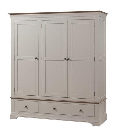 Popular Emsworth Grey Painted Triple Wardrobe With Drawers Intended For Painted Triple Wardrobes (View 12 of 15)