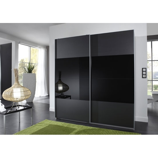 Popular Enter Black 2 Door Sliding Wardrobe With Glass In Middle Section With Black Glass Wardrobes (View 11 of 15)