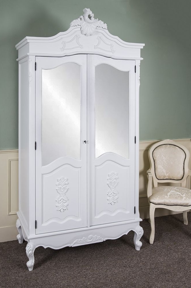 Popular French Double Wardrobe White Hand Carved Mirrored Armoire Antique Intended For White Shabby Chic Wardrobes (View 7 of 15)