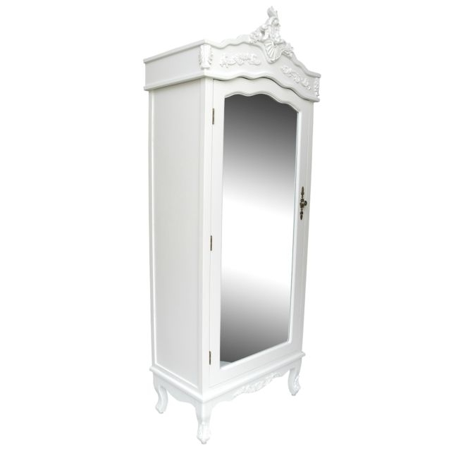 Popular French White Chateau Shabby Chic Mirrored Single Door Armoire Inside White Single Door Wardrobes (View 6 of 15)