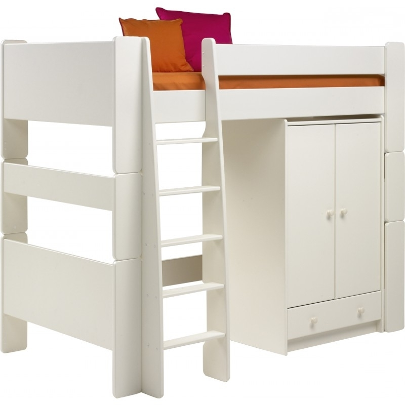 Popular High Sleeper Bed With Wardrobes Within For Kids High Sleeper And Low Wardrobe In Solid Plain White (View 12 of 15)