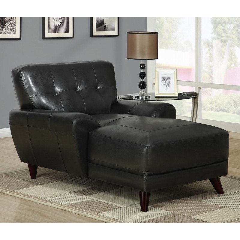 Popular Huge Black Leather Chaise Lounge — Lustwithalaugh Design : Special Throughout Black Leather Chaise Lounges (View 12 of 15)