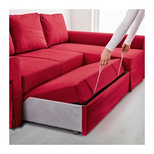 Popular Ikea Chaise Longues Within Backabro Sofa Bed With Chaise Longue – Nordvalla Red – Ikea (View 13 of 15)