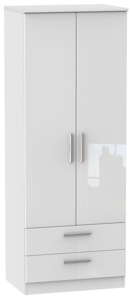 Popular Knightsbridge 2 Drawer 2 Door Wardrobe, High Gloss White Tall For White High Gloss Wardrobes (View 9 of 15)