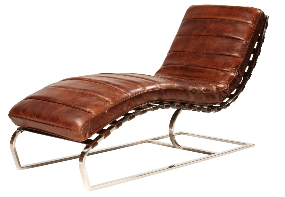 Popular Leather Chaise Lounge Chairs Regarding James Chaise Lounge Finished In Antiqued Distressed Brown Leather (View 12 of 15)