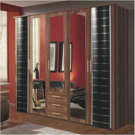 Popular Nancy Large 5 Door Walnut And Black Wardrobe – Forever Furnishings Pertaining To Large Black Wardrobes (View 9 of 15)