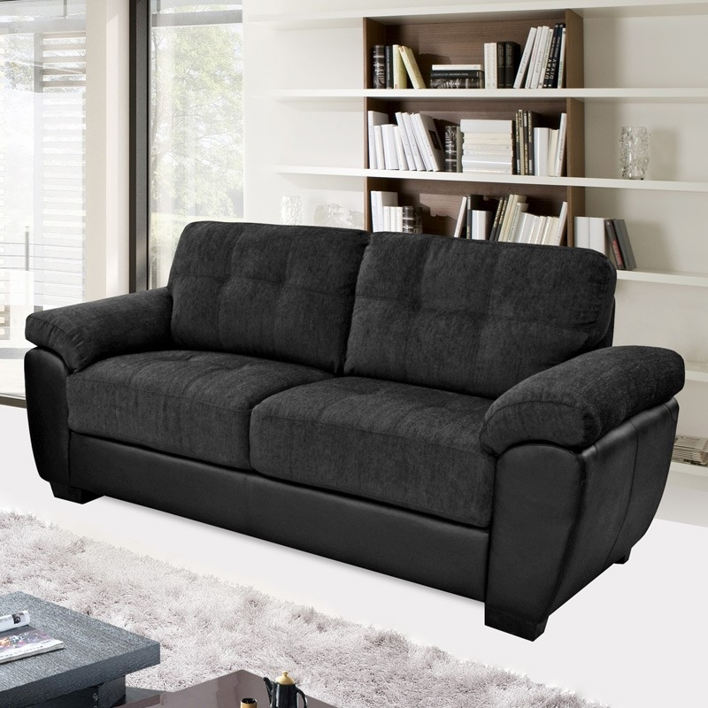 Popular Newport Black Fabric & Leather Match Sofa Collection With Regard To Cheap Black Sofas (View 6 of 10)