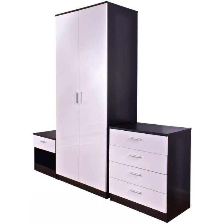 Popular Ottawa High Gloss 3 Piece Bedroom Set Throughout Cheap White Wardrobes Sets (View 13 of 15)