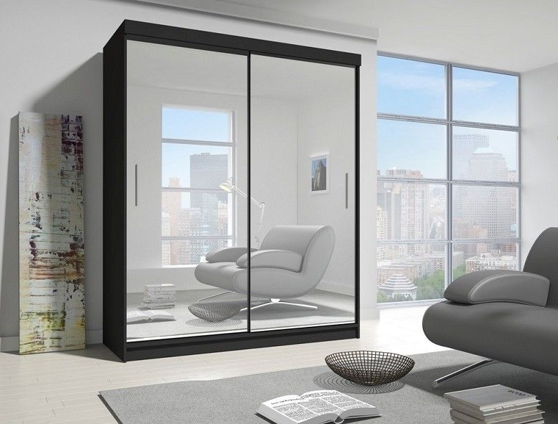 Popular Pacific Black Large 2 Door Sliding Mirrored Wardrobe Inside Large Black Wardrobes (View 10 of 15)