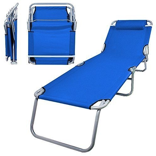 Popular Portable Outdoor Chaise Lounge Chairs With Regard To Flexzion Patio Lounge Chair Sea Blue Portable Folding Chaise Bed (View 5 of 15)