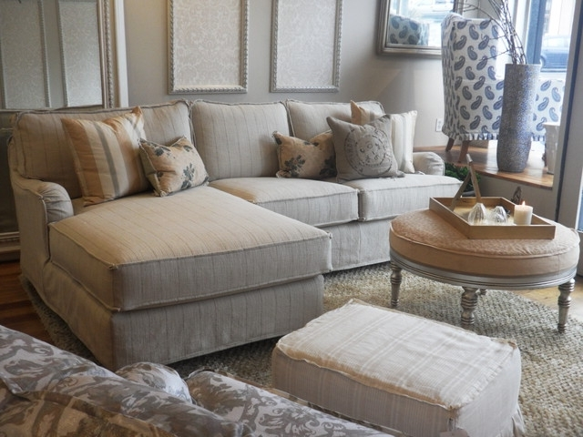 Popular Quatrine Sectional Sofas In Subtle Stripes On A Slipcovered Chaise Sectional – Beach Style (View 9 of 10)