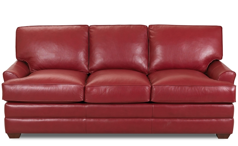 Popular Red Sleeper Sofas Inside American Red Leather Sleeper Sofa With Wooden Legs And Fold Out (View 7 of 10)