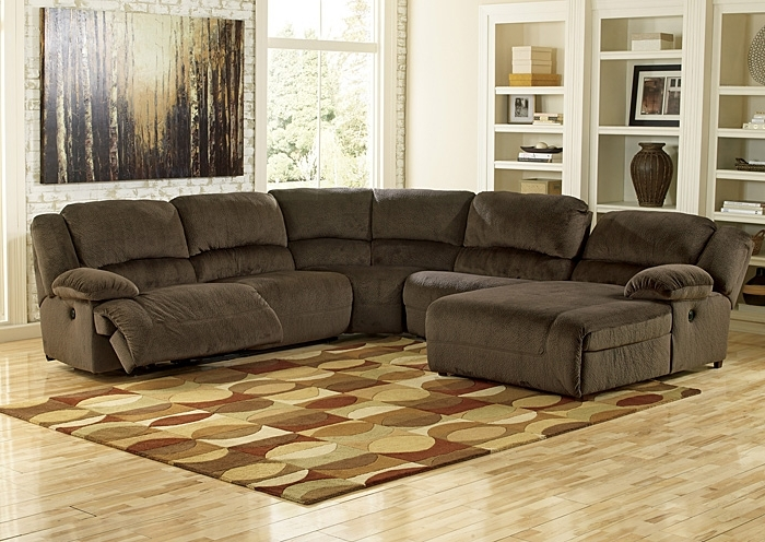 Popular Sectional Sofas With Recliners And Chaise Intended For Hornell Furniture Outlet Toletta Chocolate Left Facing Chaise End (View 6 of 15)