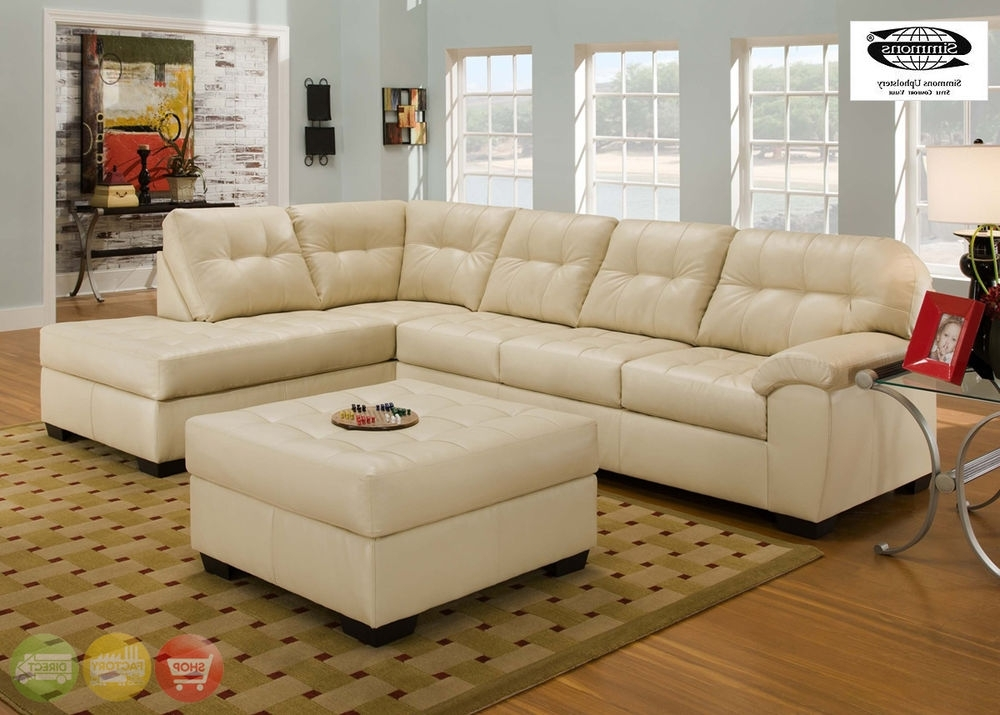 Popular Simmons Chaise Sofas With Soho Contemporary Ivory Bonded Leather Sectional Sofa W/chaise (View 2 of 10)