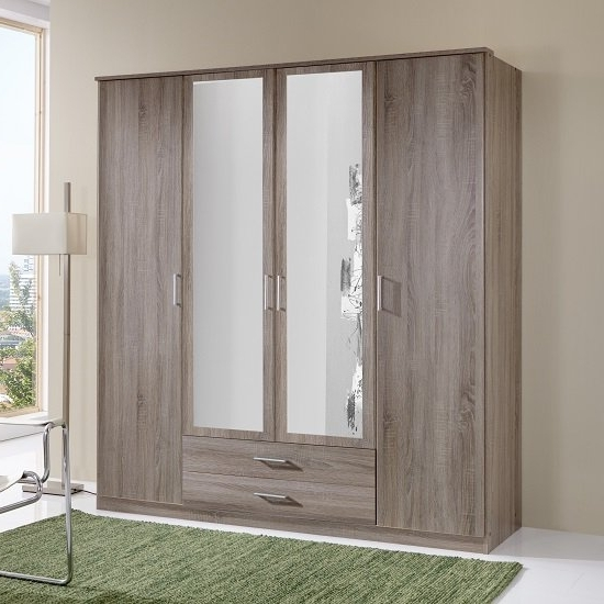 Popular Sourin Mirror Wardrobe In Montana Oak With 4 Doors And 2 Intended For Oak Mirrored Wardrobes (View 11 of 15)