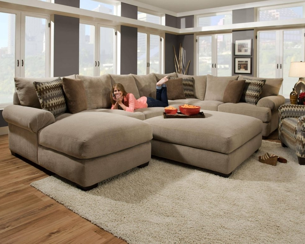 Popular Tan Sectionals With Chaise Intended For Sofa : Living Room Sectionals Sectional With Chaise Red Sectional (View 1 of 15)