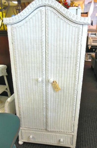 Popular Wardrobes ~ White Wicker Armoire Wardrobe White Wicker Wardrobe Throughout Wicker Armoire Wardrobes (View 14 of 15)