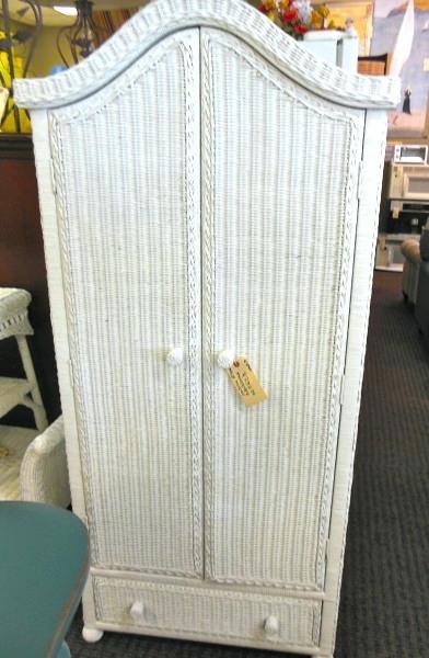 Popular Wardrobes ~ White Wicker Armoire Wardrobe White Wicker Wardrobe Throughout Wicker Armoire Wardrobes (View 8 of 15)
