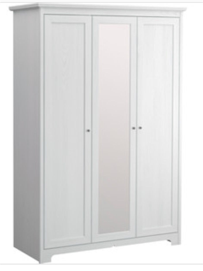 Popular White 3 Door Wardrobes In White Washed Wooden Ikea Aspelund 3 Door Wardrobe With Mirrored (View 9 of 15)