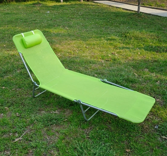 Portable Outdoor Chaise Lounge Chairs In Popular Outdoor Folding Reclining Beach Sun Patio Chaise Lounge Chair Pool (View 15 of 15)