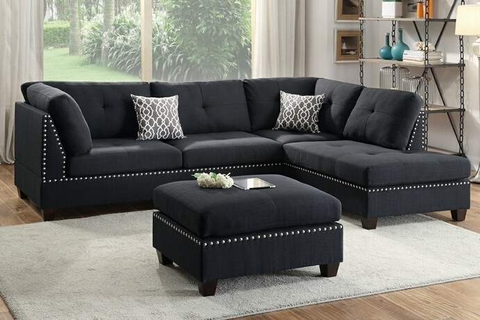 Poundex F6974 3 Pc Martinique Collection Black Linen Like Fabric With Trendy Sofas With Reversible Chaise (View 6 of 15)
