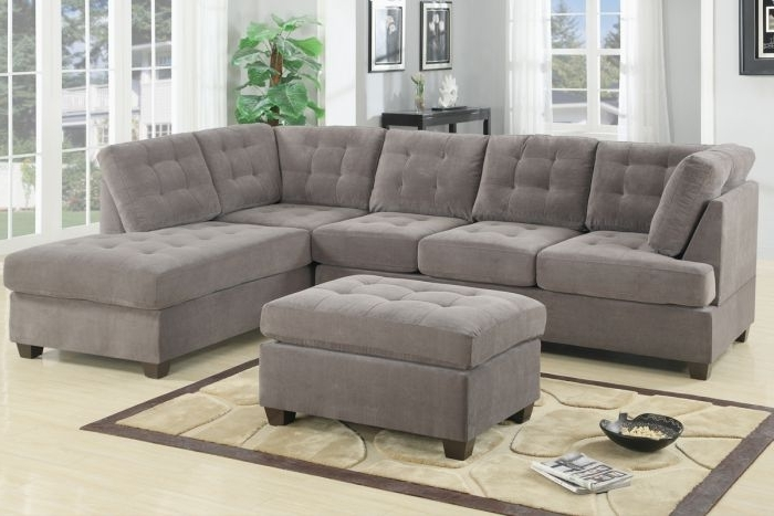 Poundex F7139 Waffle 2 Pieces Sectional Sofa Reversible Chaise In Best And Newest 2 Piece Sectionals With Chaise (View 7 of 15)