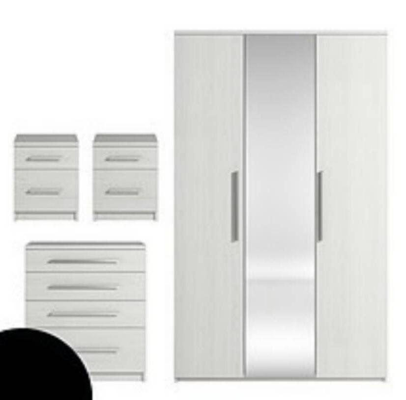 Prague 4 Piece Package – 3 Door Mirrored Wardrobe, 4 Drawer Chest Regarding Current White 3 Door Mirrored Wardrobes (View 10 of 15)