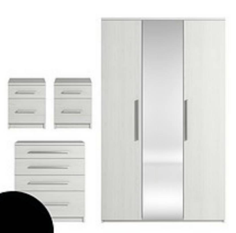 Prague 4 Piece Package – 3 Door Mirrored Wardrobe, 4 Drawer Chest With Regard To Well Liked White Wardrobes With Drawers And Mirror (View 14 of 15)