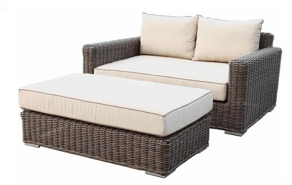 Preferred 2017 Luxury Home Furniture Round Rattan Loveseat With Ottoman In With Loveseats With Ottoman (View 7 of 10)