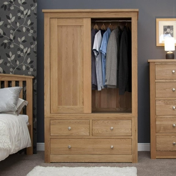 Preferred Abacus Oak Gents Sliding Wardrobe Abacus Oak Gents Sliding Regarding Oak Wardrobes (View 10 of 15)