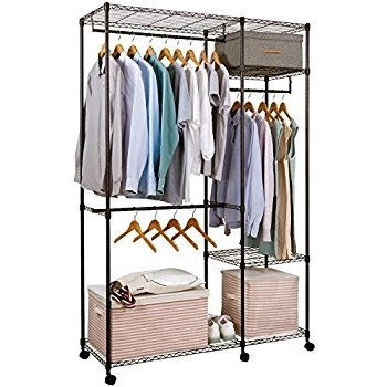 Preferred Amazon: Safstar Portable Clothes Wardrobe Garment Rack Home Inside Double Clothes Rail Wardrobes (View 11 of 15)