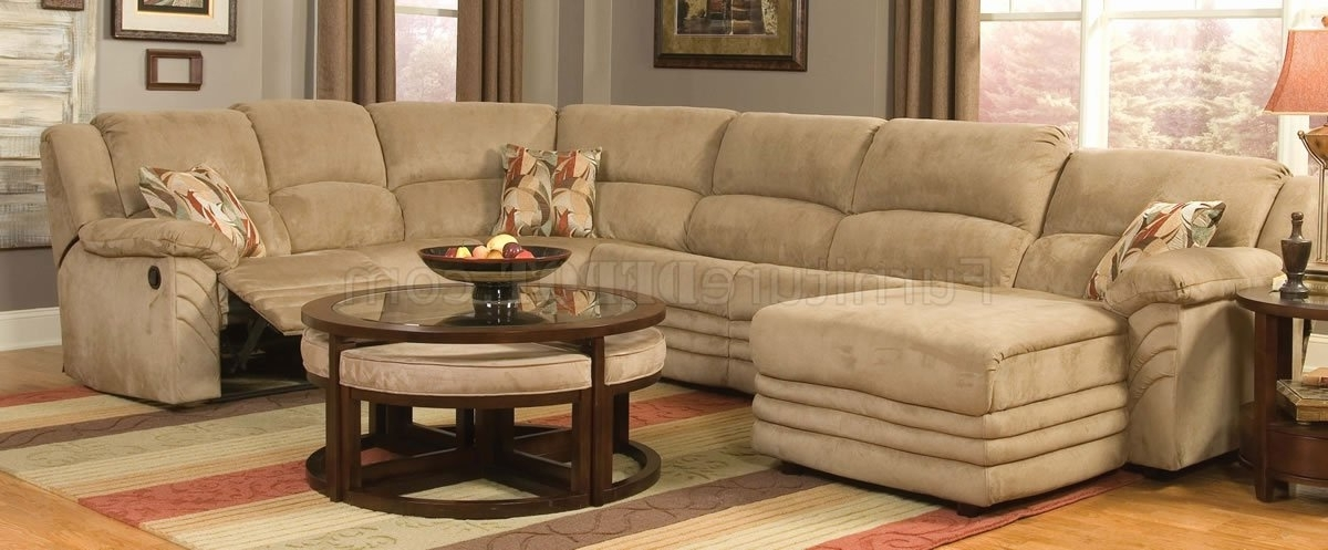 Preferred Beige Sectionals With Chaise Within Microfiber Cozy Sectional W/reclining Chaise (View 11 of 15)