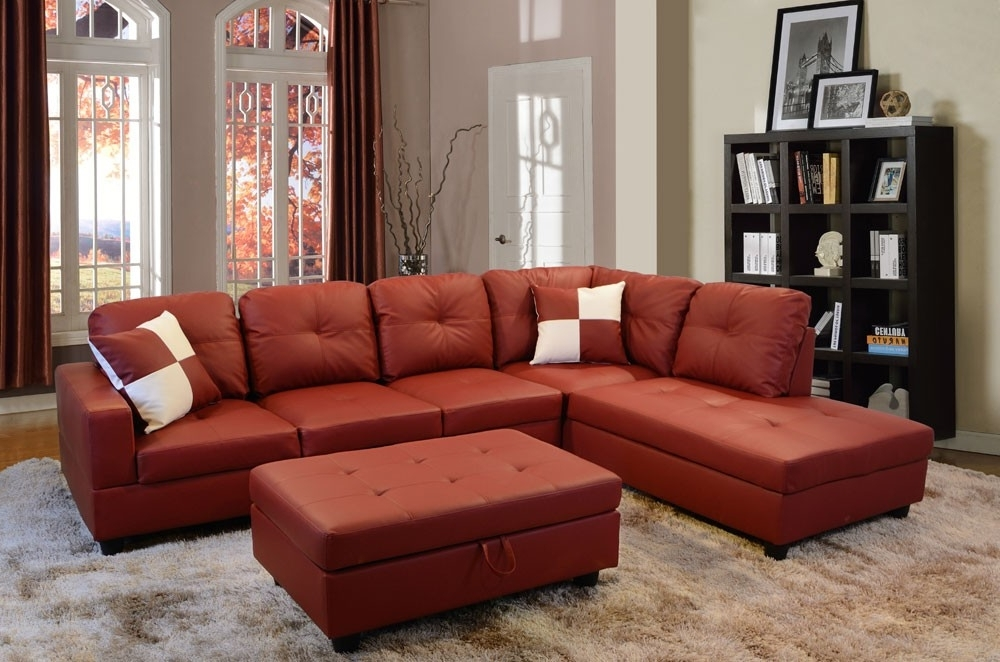 Preferred Bevly Red Faux Leather Sectional Sofa With Ottoman Lowest Price With Red Faux Leather Sectionals (View 8 of 10)