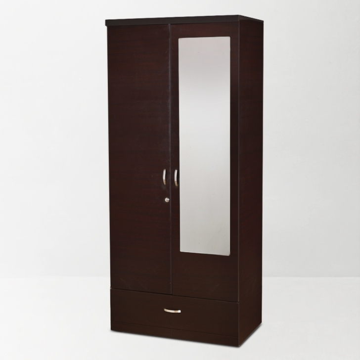 Preferred Buy Utsav Two Door Wardrobe With Mirror In Wenge Finish Online In Pertaining To Cheap Wardrobes With Mirrors (View 9 of 15)