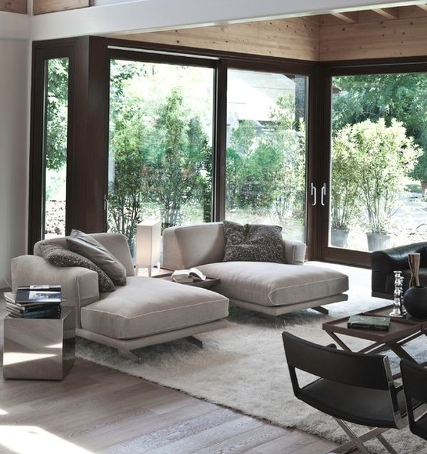 Preferred Chaise Lounge Chairs For Small Spaces Regarding Soft Cushion Contemporary Living Room With Chaise Lounges In Nice (View 14 of 15)