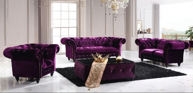 Preferred Chesterfield Boutique Crush Velvet Three Seater Purple Sofa Throughout Velvet Purple Sofas (View 7 of 10)