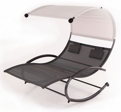 Preferred Double Chaise Rocker Patio Furniture Seat Chair Canopy Pool Swing Pertaining To Chaise Lounge Chair With Canopy (View 13 of 15)