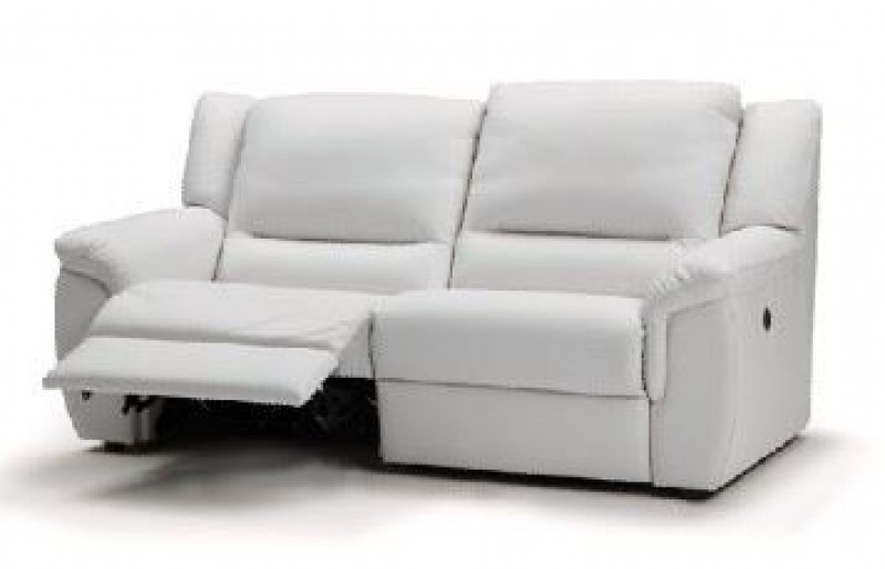 Preferred Excellent Montreal Blossom White Reclining 3 2 Seater Leather Sofa With 2 Seater Recliner Leather Sofas (View 7 of 10)