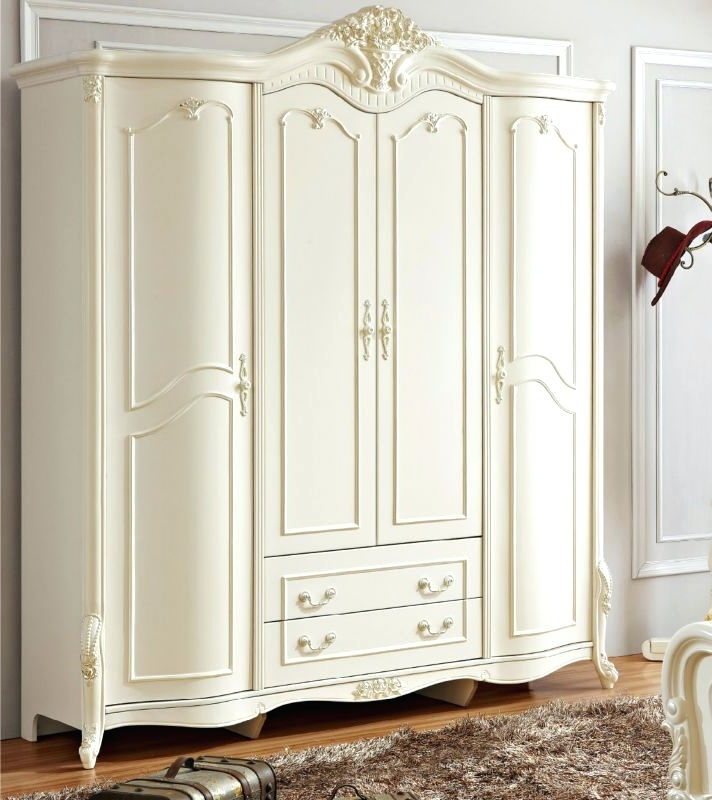Preferred French Style White Wardrobes Throughout Wardrobes ~ White Armoire Wardrobe With Mirror Antique Solid Wood (View 10 of 15)