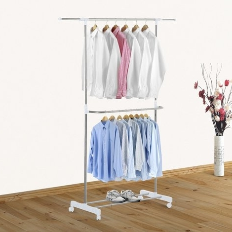 Preferred Homcom Stainless Steel Adjustable Clothes Hanger Double Rack Throughout Double Up Wardrobes Rails (View 10 of 15)