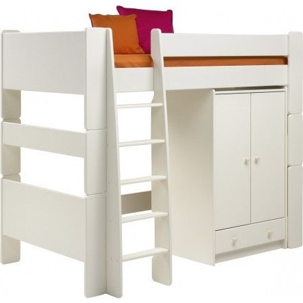 Preferred Kids Beds, Pine Rimini High Bed Student Package With Bedside Chest Pertaining To High Sleeper Cabin Bed With Wardrobes (View 13 of 15)