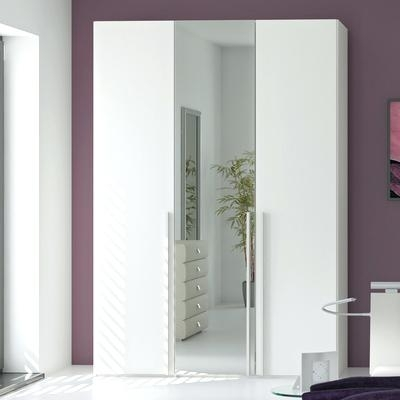 Preferred Malta White Full Mirror Sliding Door Wardrobe Shaker Full Length Pertaining To White Mirrored Wardrobes (View 8 of 15)