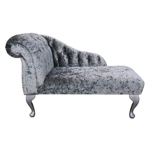 Preferred Mini Chaise Lounge Chairs For Mini Chaise Lounge Chair Buttoned Mini Chaise In A Pewter Silver (View 14 of 15)