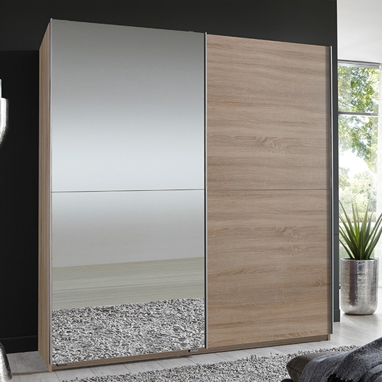 Preferred Quest Oak Robe 2 Door Sliding Wardrobe With 1 Mirrored Door Quest In 1 Door Mirrored Wardrobes (View 11 of 15)