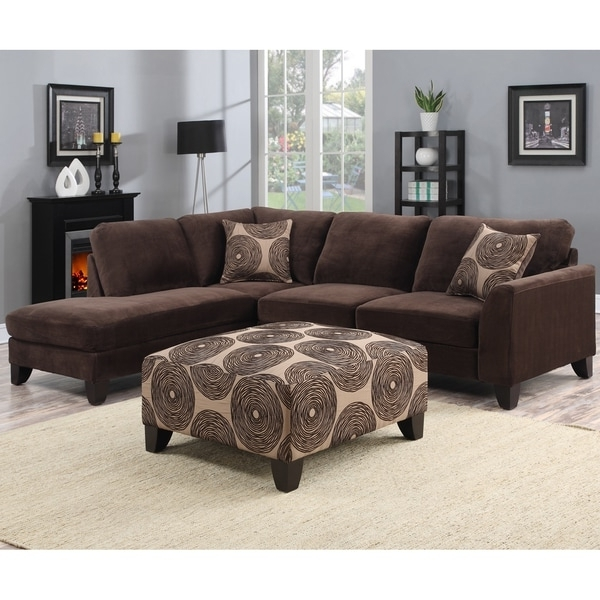 Preferred Sectional Sofas With Ottoman Regarding Porter Malibu Chocolate Brown Sectional Sofa With Ottoman – Free (View 4 of 10)