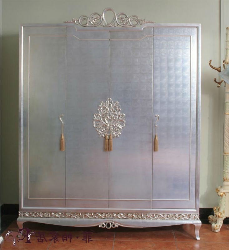 Preferred Silver Wardrobes With Regard To New Classical Furniture Silver Foil Hand Carved Solid Wood (View 7 of 15)