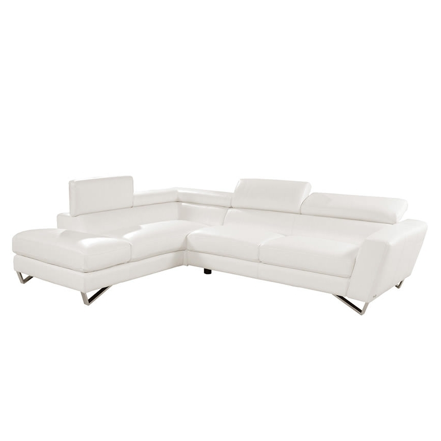 Preferred Sparta White Leather Sofa W/right Chaise (View 7 of 15)