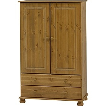Preferred Strand – Solid Wood 2 Door 2 Drawer Wardrobe – Antique Pine Intended For Natural Pine Wardrobes (View 9 of 15)