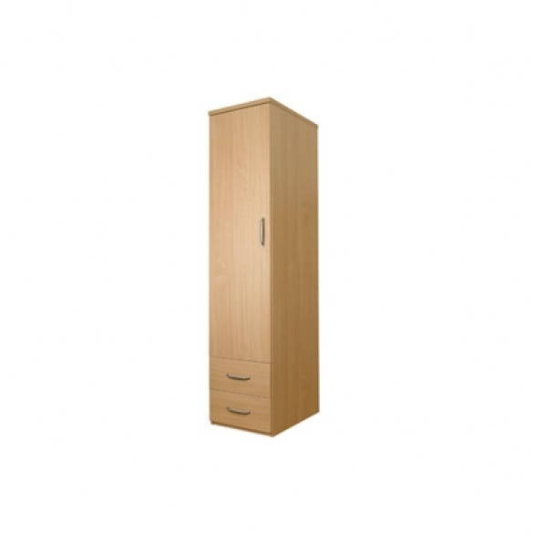 Preferred Sunflower Single Wardrobe With Drawers – No Lock – Beech With Regard To Single Wardrobes (View 8 of 15)