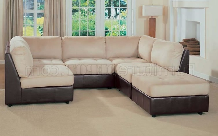 Preferred Two Tone Sofas Intended For Leather And Microfiber Two Tone Sectional Sofa (View 6 of 10)